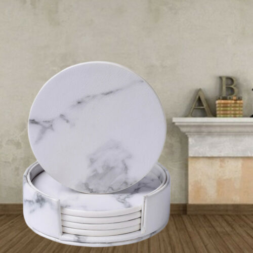 7Pcs Round Marble Coasters PU Leather Cup Mats Placemat Drink Coasters for Home