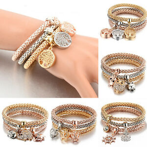3pcs-Set-Rhinestone-Bangle-Jewelry-Women-Gold-Silver-Rose-Bracelets