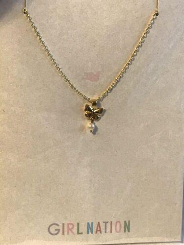 Girl Nation Enamel Child Necklace 14K Gold Plated Pretty Dainty Butterfly