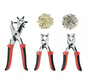 Powerfix Heavy Duty Revolving Punch Hole Pliers 3 Set with Eyelets Press Stud