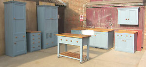 SPECIAL-OFFER-SET-OF-7-FREESTANDING-HANDMADE-KITCHEN-PAINTED-PINE-UNITS-OAK-TOP