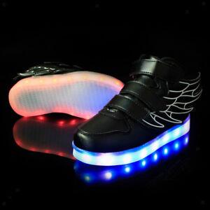Dettagli su alla Moda Scarpe LED Bambino con Caricatore Cavo USB per Bambini Ragazzi