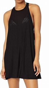Billabong Womens Swimwear Black Size Large L Sheer Ribbed Cover-Up $39- 482