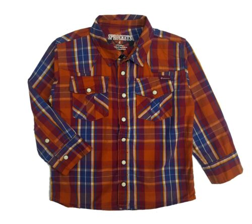 7 Casual Western Plaid Shirt Boys Long Sleeve Pearl Snap Baby Size 12 Months 2T