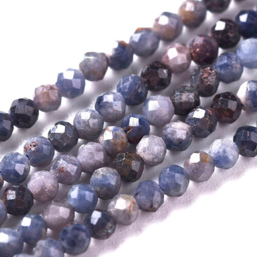 2 Strd Natural Sapphire Beads Faceted Round Tiny Loose Spacer Beads Crafting 2mm