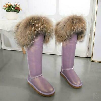 Winter Women/'s Faux Suede Over Knee High Fur Trim Pull On Snow Warm Boots Shoes