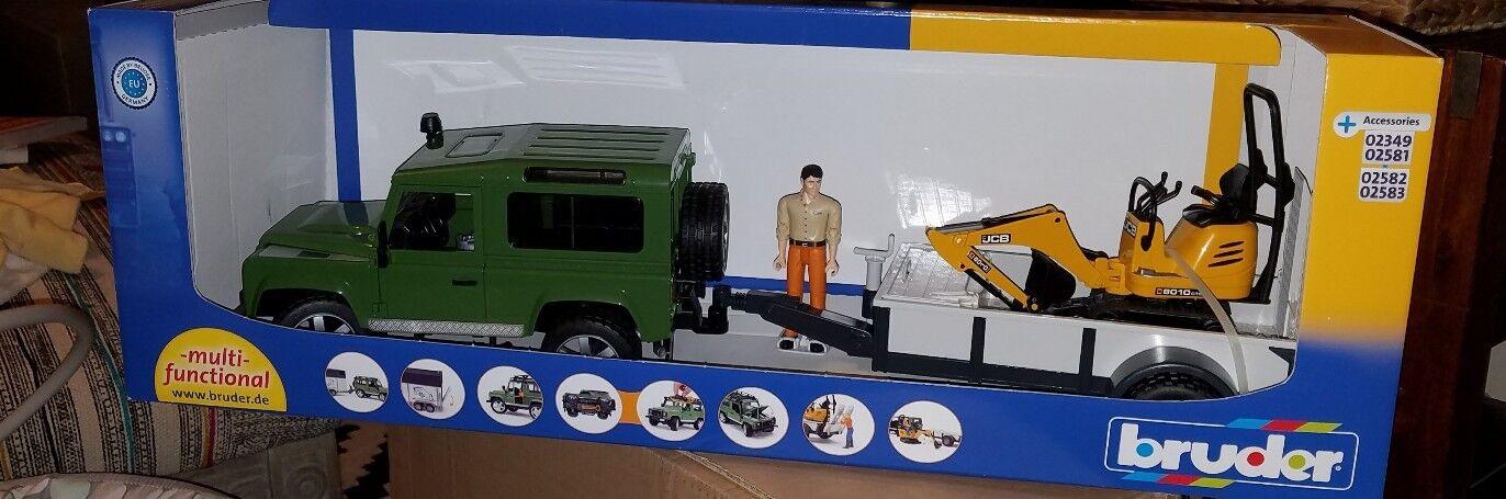 Bruder Land Rover Defender Station Wagon W jcb microexcavator & trabajador 02593 Nuevo