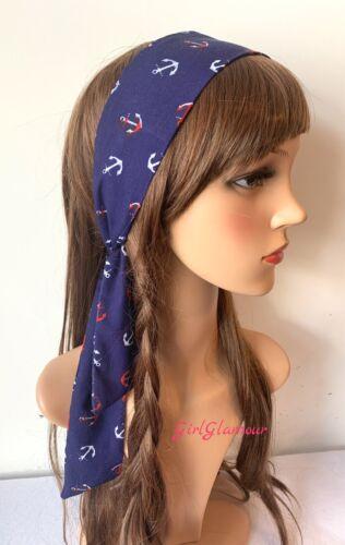Nautique Bandeau Bandana Foulard Ancre Écharpe Sailor Hairband Cheveux Cravate Bande
