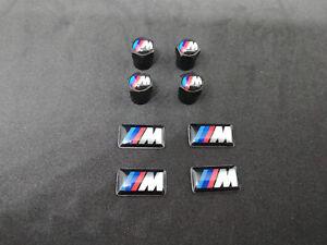 4 TAPPI COPRI VALVOLE AUTO RUOTE NERO BMW M SPORT STEMMA SERIE 1 2 3 4 5 6 7 Z X