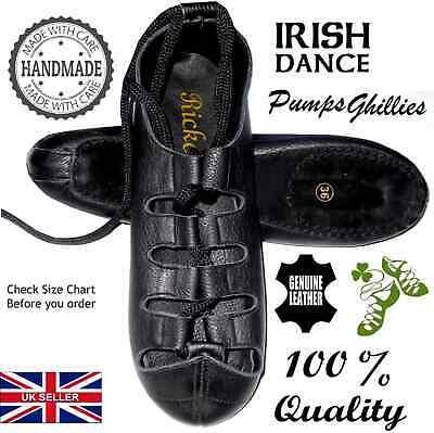 IRISH DANCE SHOES DANCING LEATHER COMFORT reel pumps hard jig ghillie AA