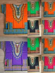 Camicia Dashiki Africano Tribale Poncho Messicano Hippie Tribale Festival T-SHIRT COTONE  </span>