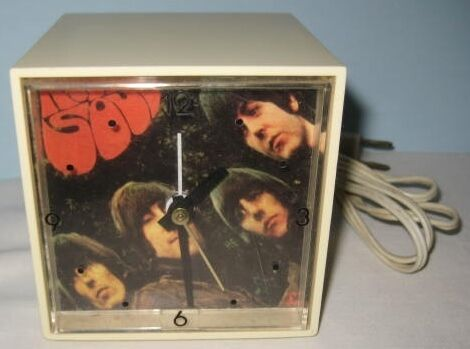 Antiguo De Los Beatles Rubber Soul Reloj Despertador-American Greetings Mini Cubo Rock N Roll