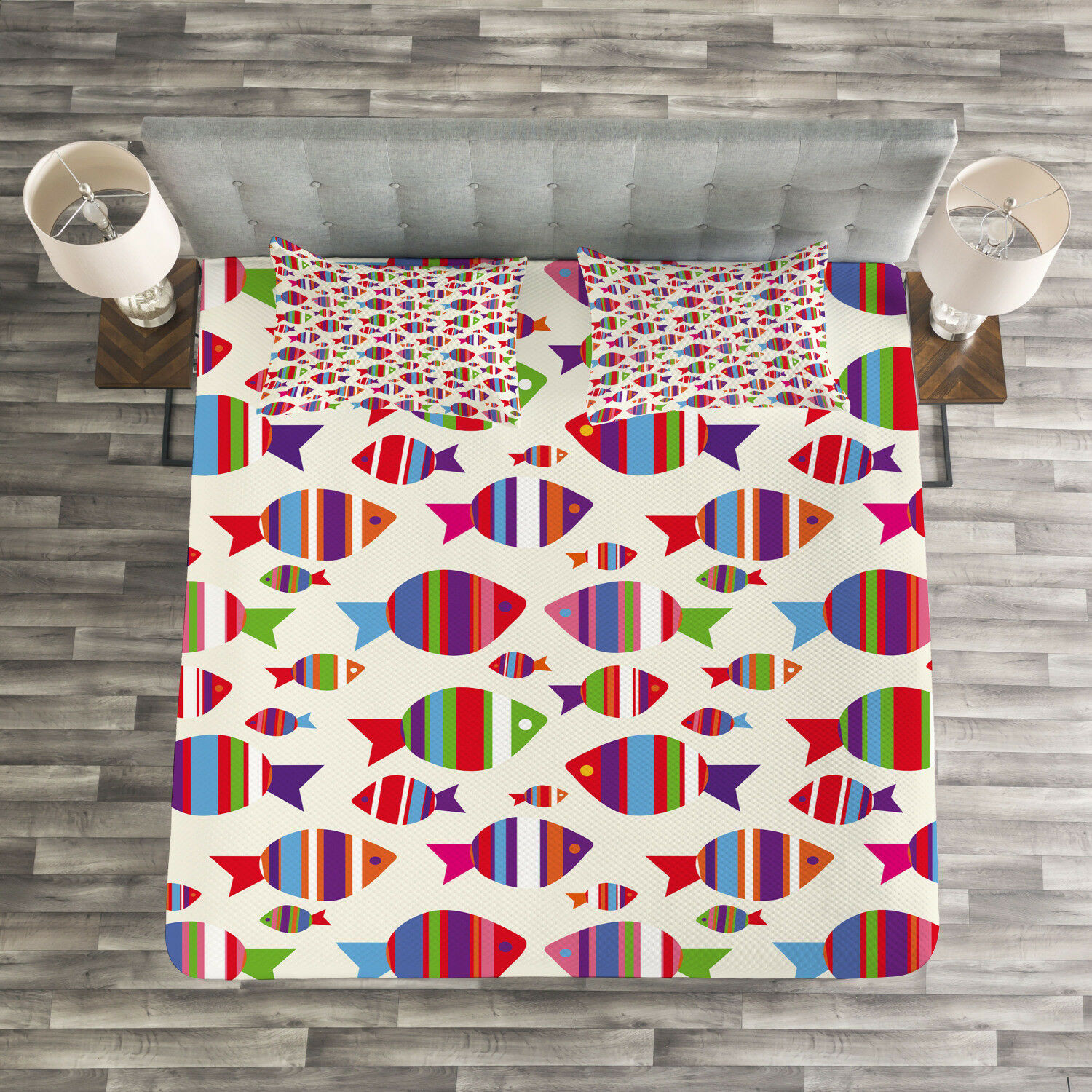 Kids Quilted Bedspread & Pillow Shams Set, Vibrant Striped Fishes Print