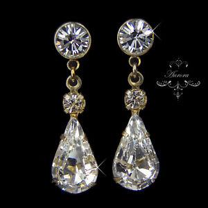 Swarovski-Crystal-Elements-Gold-Tone-Tear-Drop-Earrings-Wedding-Bridal-3cm