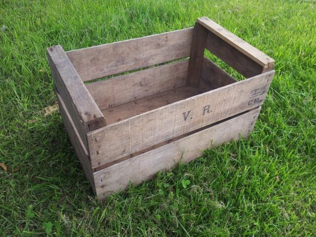Vintage Wooden Pear Fruit Crate - Rustic Old Bushel Box - Shabby Chic Storage