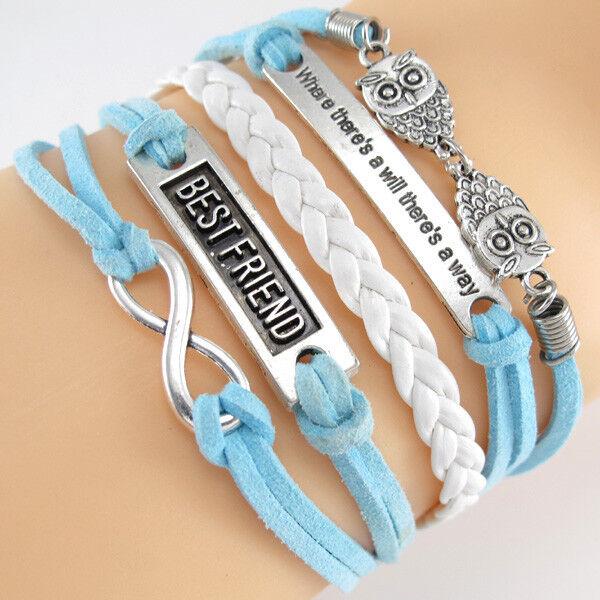 Infinity,Best Friend,Motto,Owls 4 Charms Leather Wax Rope Friendship Bracelet