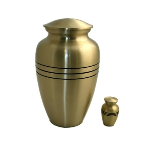 Well Lived™ Small Brass Engraved Band Keepsake Cremation Urn for human ashes