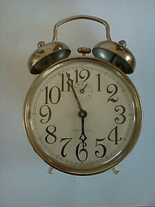 Vintage-70-039-s-Made-By-Westclox-in-Brazil-Twin-Bell-White-Metal-Alarm-Clock-WORKS