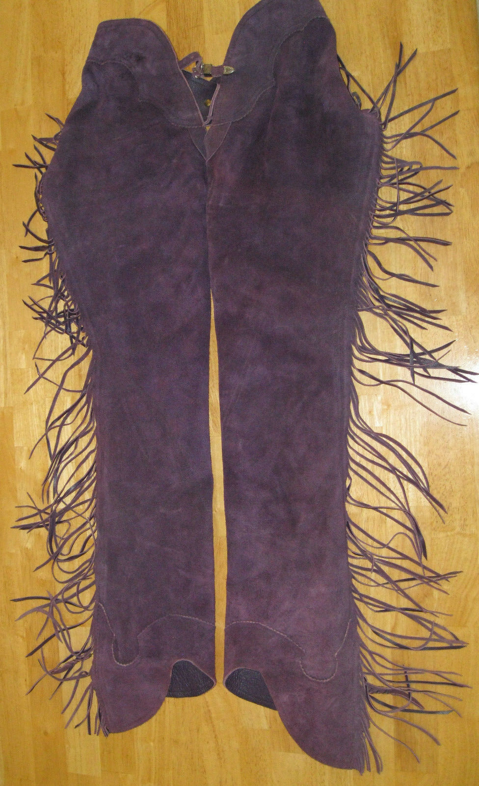 Woods Western Chaps Show Apparel Leather Suede Purple
