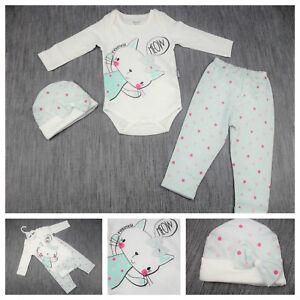 Neu-3tlg-Babyset-Baby-Set-Body-Hose-Muetze-Katze-Gruen-Rosa-68-74-Maedchen-Oko-Tex