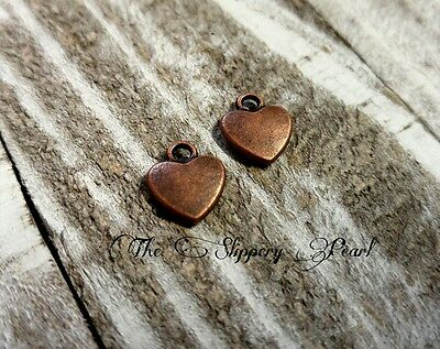 6 Copper Heart Charms Puff Heart Pendants Antiqued Copper Hearts