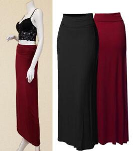 b629f10de Fold Over High Waist Long Maxi Skirt Solid Stretchy Rayon Span Full ...