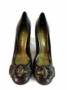 MADELINE-WOMENS-BROWN-LEATHER-PUMPS-3-5-034-HEELS-SIZE-10-M
