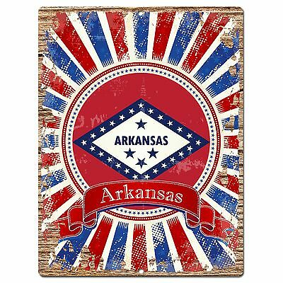 PP0983 USA Arkansas State Flag Chic Sign Home Shop  Store Room Wall Decor Gift