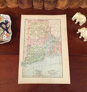 Original-1894-Antique-Map-RHODE-ISLAND-Providence-Cranston-Newport-Pawtucket