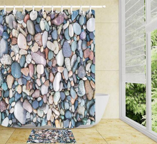 Rustic Gravel Pebble Rock Waterproof Fabric Shower Curtain Set Bathroom 12 Hooks
