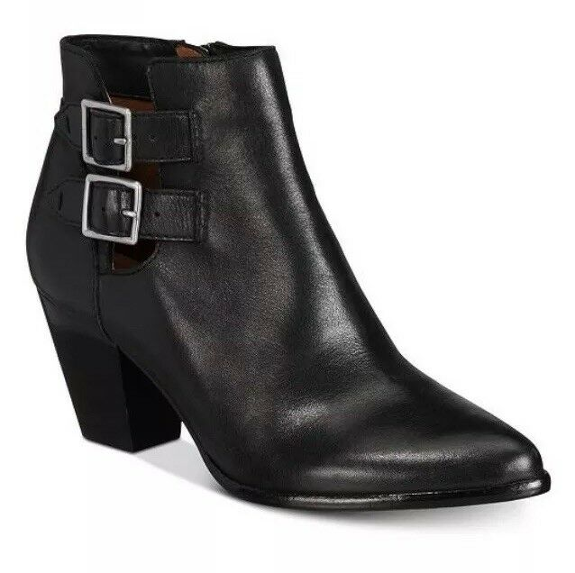 Frye Jennifer Belted Buckle Booties Ankle Boots Leather Cowboy Black 6.5 M