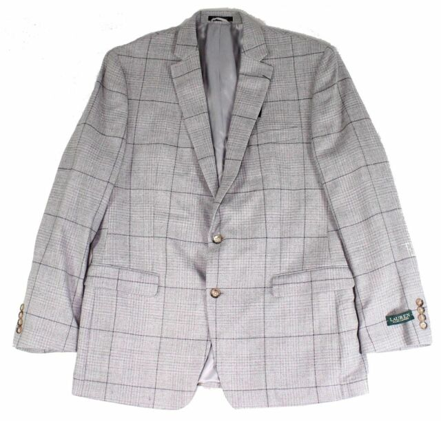 Lauren by Ralph Lauren Mens Sport Coat Gray Size 50 L Windowpane Wool $375 #177