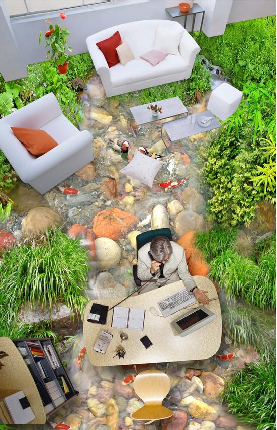 3D Stone Shrubs River 71 Floor WallPaper Murals Wall Print Decal AJ WALLPAPER US