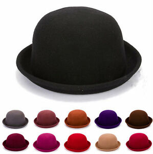 Fashion-Women-039-s-Ladies-Trendy-Bowler-Wool-Derby-Hat-Roll-up-Costume-Party-Cap