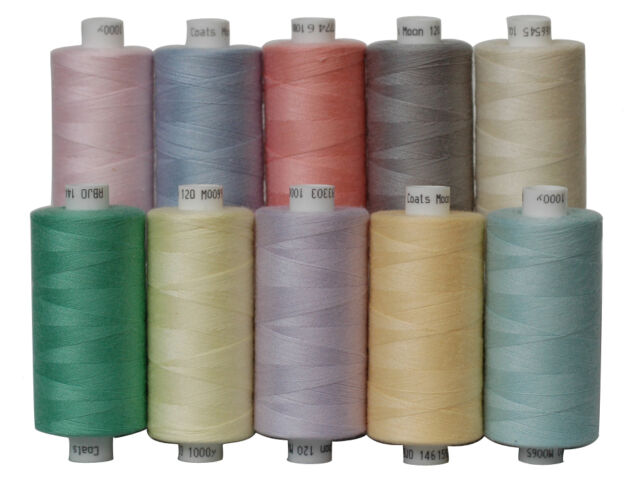 10 PASTEL COLOURS MOON POLYESTER SEWING THREAD COTTON, 1000 yds Each Spool