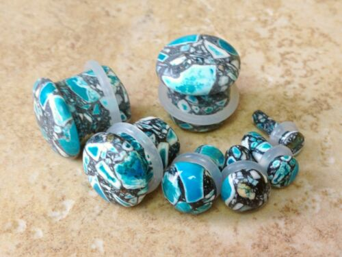 """PAIR Blue Crazy Agate Single Flare Stone Plugs 1//2/"""" 12mm"""