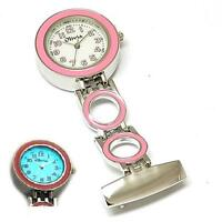 The Olivia Collection White Dial Pink Link Chain Nurses Watch With Backlight