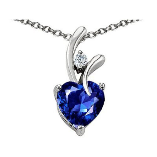 7MM OR 9MM HEART SHAPE BLUE SAPPHIRE PENDANT SOLID 14K YELLOW OR WHITE GOLD