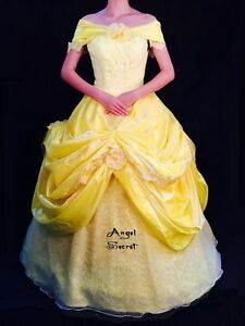 Image is loading PP132-COSPLAY-Belle-Dress-Princess-Tiana-Costume-tailor- & PP132 COSPLAY Belle Dress Princess Tiana Costume tailor made kid ...