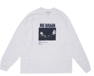 Fuking awesome White No brain graphic l s longsleeve t-shirt tee size SMALL