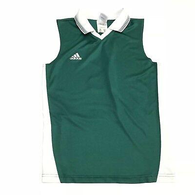 Adidas Vintage Donna S Verde Maniche Colletto Athletic Maglia Canotta Sz M