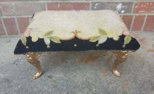 Antique-Foot-Stool-Bench-Gold-Cast-Iron-Feet-Pink-Black-Floral-13x9-5x7