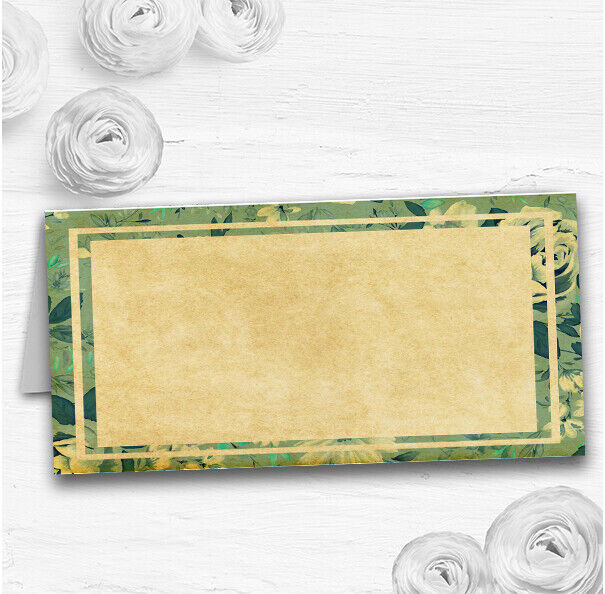 Vintage Blau Turquoise Floral Postcard Style Wedding Table Name Place Cards