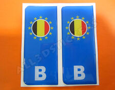 2x3D Sticker Resin Domed Euro BELGIUM Number Plate with Flag Car Badge Adhesive