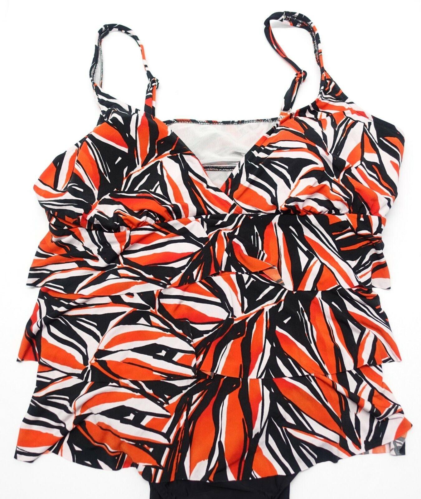 11bcab8b8 Tropical Escape Womens Plus Triple Tiered Miami Palm Swimsuit Size ...