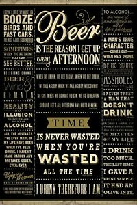 BEER Poster   BAR Print Full Size 24x36 ~ BEER Good Time Drinking
