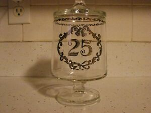Fenton-Glass-25th-Silver-Anniversary-Candy-Jar-Container-6-034-Tall-Mint