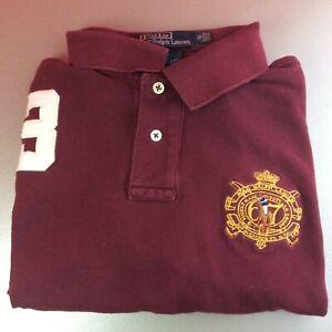 Ralph-Lauren-medium-rouge-solide-a-manches-courtes-Polo-Shirt-BIG-PONY-LOGO-Genuine