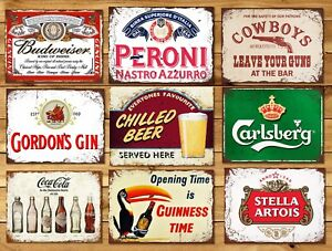 Metal-sign-plaque-vintage-retro-style-Gin-bar-Peroni-mancave-beer-Carlsberg