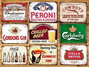 Metal-sign-plaque-vintage-retro-style-Gin-bar-Peroni-mancave-beer-Carlsberg